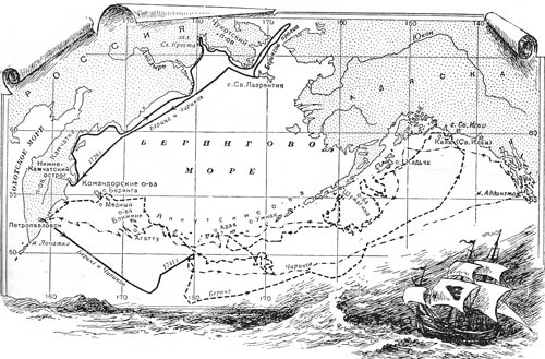 Map of Bering expedition